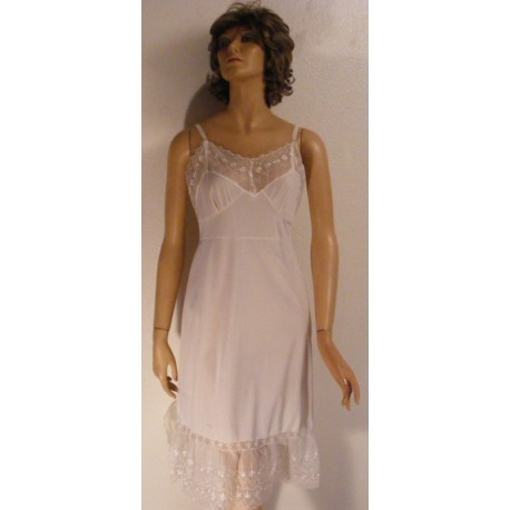 50's 60's Vintage Full Slip White Nylon - Lacy