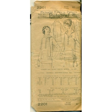 Vintage 1930's Blouse Pattern XL - Pictorial Review 2201