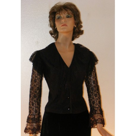 1970's All Lace Blouse with Ruffles L XL from Mode O'Day