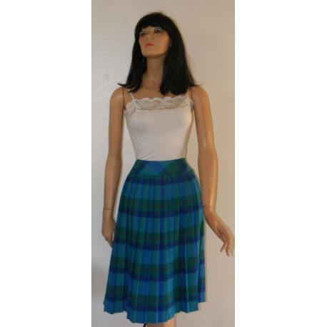 Vintage 1980's Green Plaid, Pleated Skirt - Karen Scott