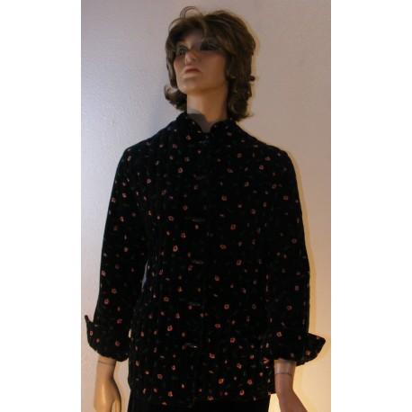 Vintage Black Quilted Velvet Jacket - Floral Print