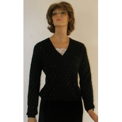1990's Ann Taylor Black Beaded Sweater - Merlino Wool