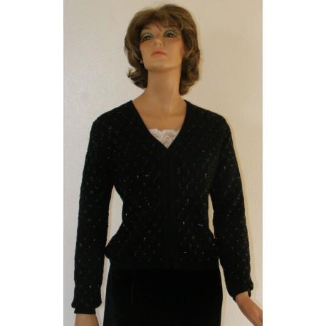 1990's Ann Taylor Black Beaded Sweater - Merlino Wool