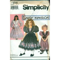 Vintage Girls Dress Sewing Pattern - Daisy Kingdom, Simplicity No. 7698