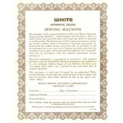 Vintage White Sewing Machine Warranty - Brown
