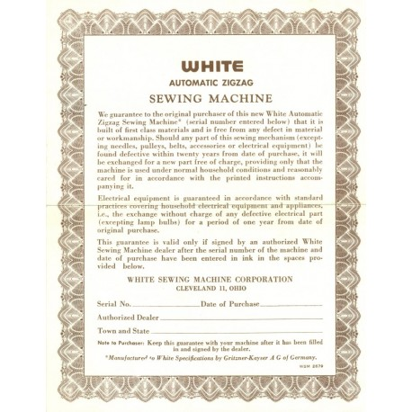 Vintage White Sewing Machine Warranty - Brown