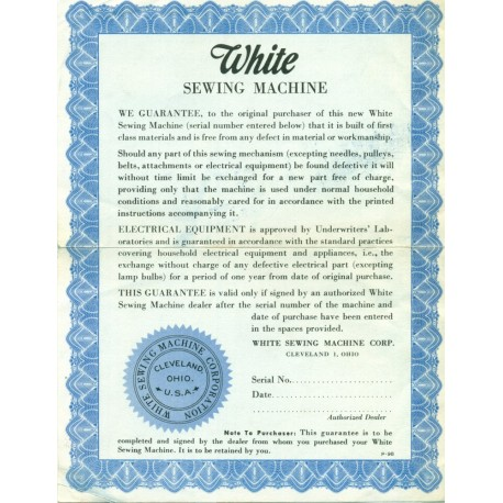 Vintage White Sewing Machine Warranty - Blue