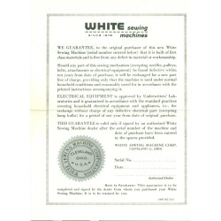 Vintage White Sewing Machine Warranty - White
