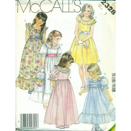 Girls Party Dress Sewing Pattern McCalls