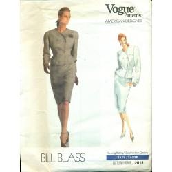 Vintage 80s Women's Suit Pattern - Skirt & Jacket - Vogue Bill Blass