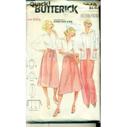 1980s Womens Shirt Jacket Pants & Skirt Pattern - Butterick Jones New York