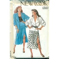 80s Womens Drop Waist Skirt & Jacket - New Look No. 6860