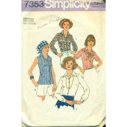 Vintage Womens Shirt Sewing Pattern with Scarf - 1970s Simplicity No 7353