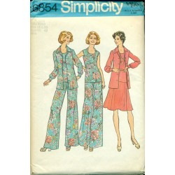1970s Simplicity Sewing Pattern No. 6854 - Womens Wide Leg Pants Skirt & Jacket