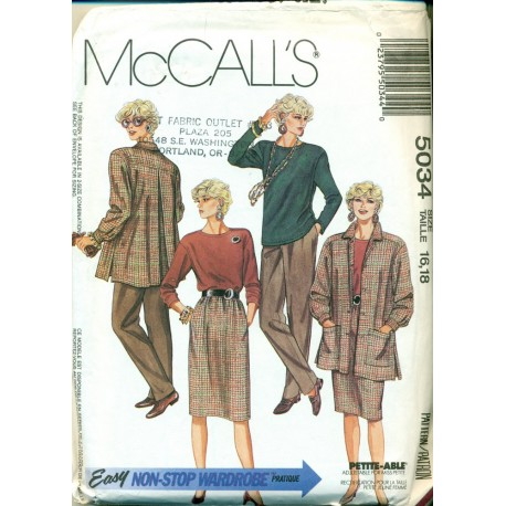 Vintage Womens Jacket Shirt Skirt & Pants Sewing Pattern - McCalls No. 5034
