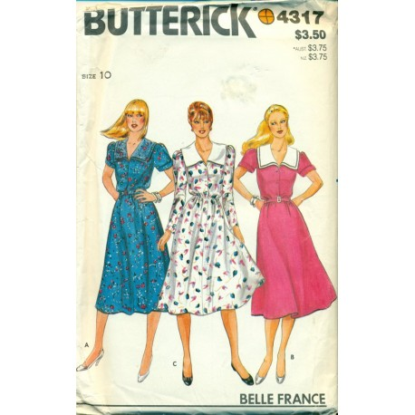 Vintage Womens Dress Sewing Pattern - Belle France - Butterick No. 4317