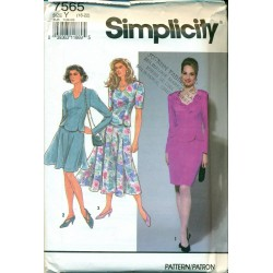 Vintage Womens 2 Piece Dress Sewing Pattern - Simplicity No. 7565