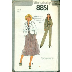 1970s Sewing Pattern Womens Suit Jacket Skirt & Pants - Simplicity No. 8851