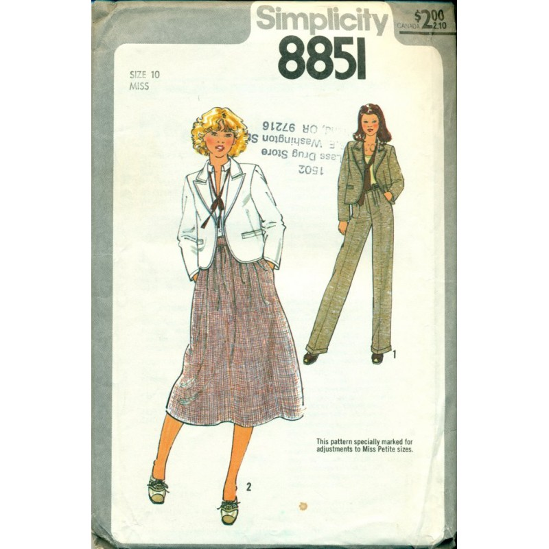 1970s Sewing Pattern Womens Suit Jacket Skirt & Pants - Simplicity ...