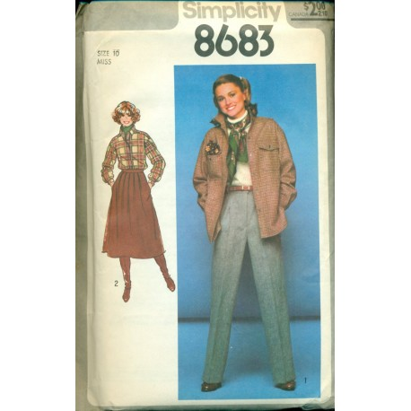 1970s Womens Skirt Pants & Shirt Jacket Sewing Pattern - Simplicity No.8683