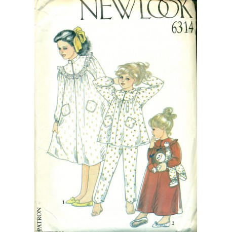 Girls Pajamas & Nightgown Sewing Pattern - New Look No. 6314