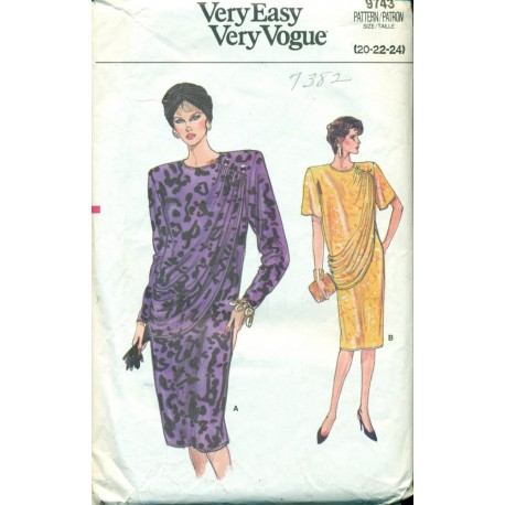 Vintage 1980s Womens Cocktail Dress - Vogue No. 9743