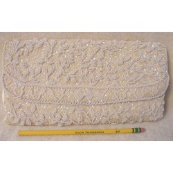 Vintage 1970s White Clutch Purse - Beaded Sequin Mantessa