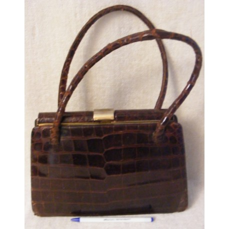 Vintage Alligator Caiman Handbag - Brown Industria Argentina