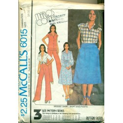 Vintage Women's Shirt Dress Pants and Skirt Sewing Pattern - McCalls Marlo Thomas