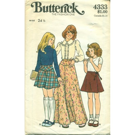 Vintage Girls Short and Maxi Skirt Sewing Pattern - Butterick No ...