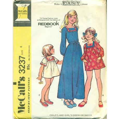 Vintage 1970s Girls Dress and Smock Shirt - McCalls No. 3237