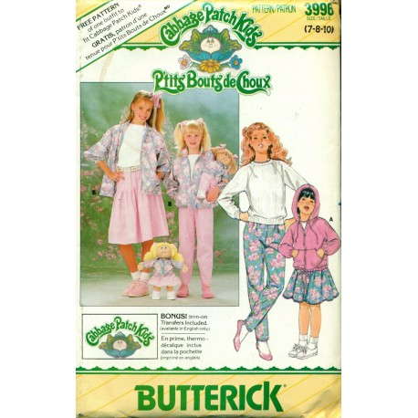 Vintage Girls Sweat Shirt, Hoodie, Skirt and Pants Sewing Pattern - Cabbage Patch