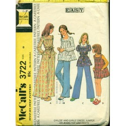 Vintage 1970s Girls Peasant Dress Pants Shirt - McCalls No. 3722