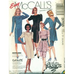 Vintage 1980s Womens Cocktail Dress Sewing Pattern - McCall's No. 3758