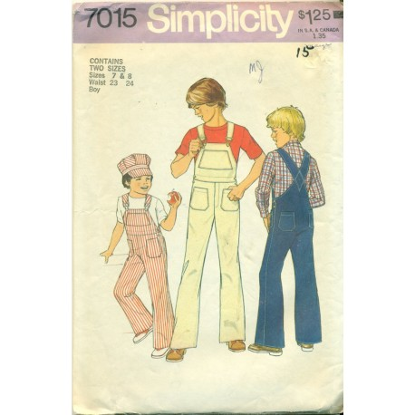 Vintage Childrens Sewing Pattern Overalls & Cap - Simplicity No. 7015