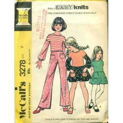 Vintage Girls Dress Shirt & Pants Sewing Pattern - McCalls No. 3278