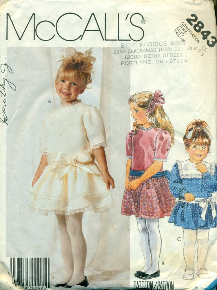 Little Girls Party Dress Vintage Sewing Pattern - McCall\'s No. 2843 ...