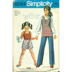 Vintage 1970s Girls Tank Top Scooter Skirt & Pants - Simplicity No. 9294
