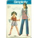 Vintage 1970s Girls Tank Top Scooter Skirt & Pants - Simplicity No. 9294