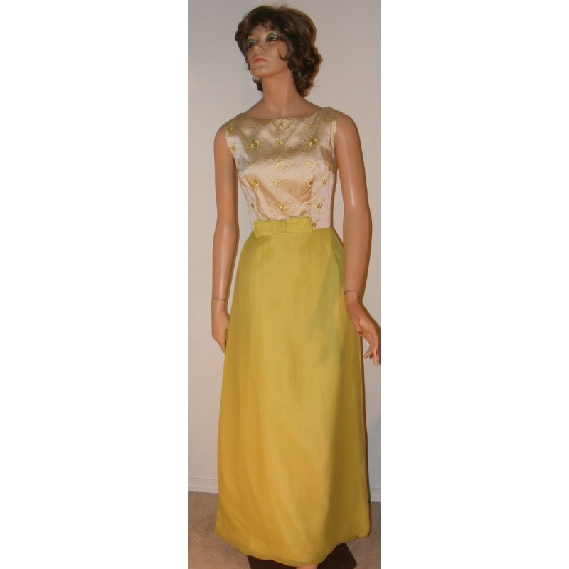 1960\'s Chartreuse Evening Gown Sleeveless - Sheath - Angel Elegance ...