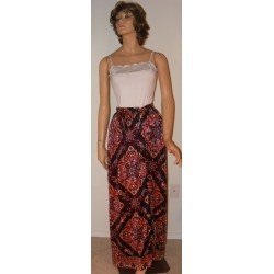 Vintage 1970's Women's Maxi Skirt - Blue and Colorful