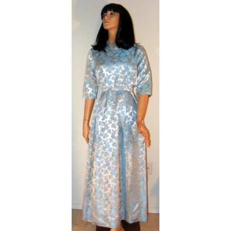 Blue Evening Gown with Jacket - Vintage Brocade
