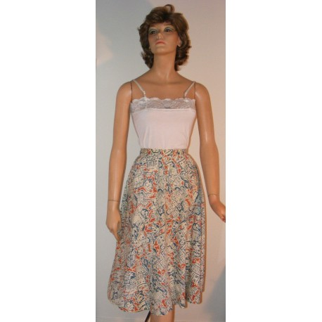 Vintage Womens Skirt w/ Building Print Gored
