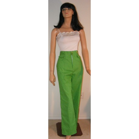 1970s Green Polka Dot High Waisted Pants w/ tags Large