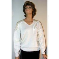 Vintage 1980s Sweater w/ Sequins Angora & Sparkles - Medium