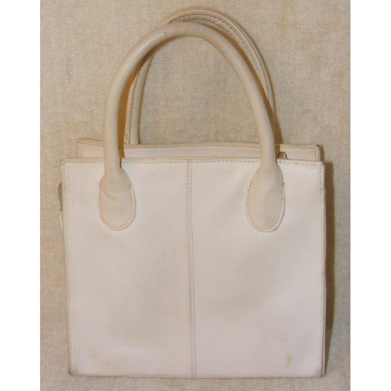 Vintage Giani Bernini Handbag White Leather Loading Zoom