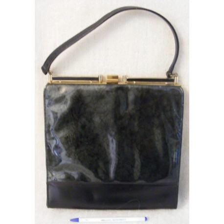 Vintage Satchel Handbag - Black with Silvery Panel