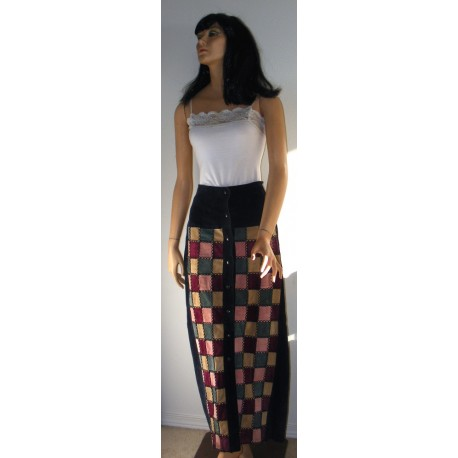Vintage Patchwork Suede Maxi Skirt - Small