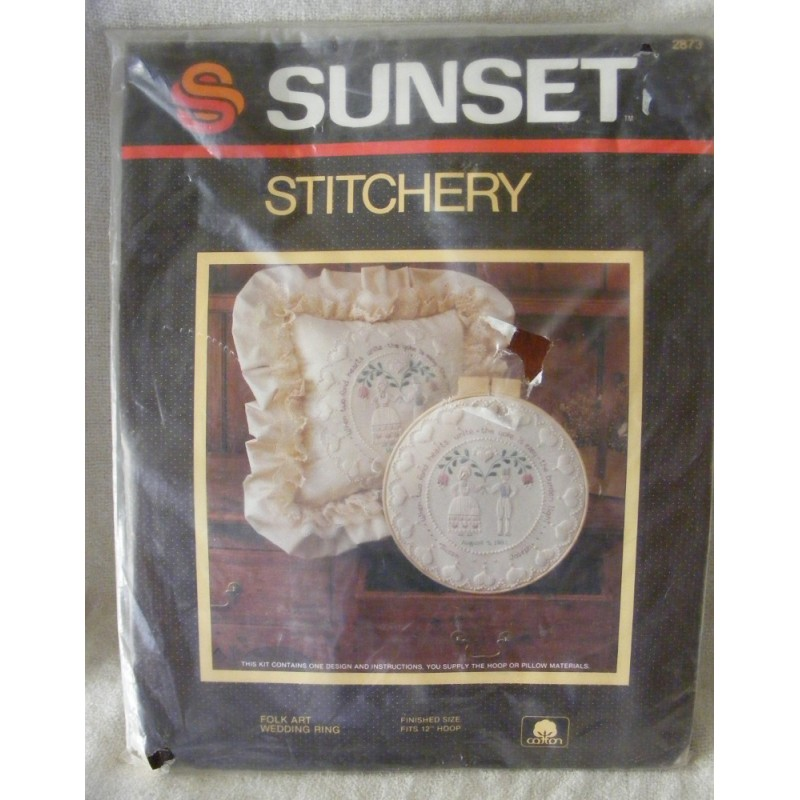 Embroidery kit discontinued wedding pillow angel