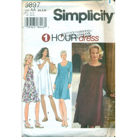Vtg 1 Hour Dress Sewing Pattern - Simplicity No. 9897